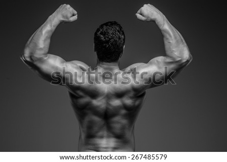 Bodybuilders back. Studio shoot - stock photo