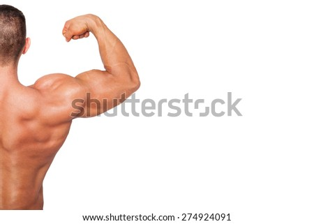 Bodybuilding background with copy space. Bodybuilder showing biceps isolated on white background.  - stock photo
