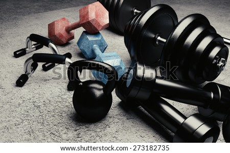 Bodybuilding equipment illustration with kettlebells, dumbbells and push up handles. - stock photo
