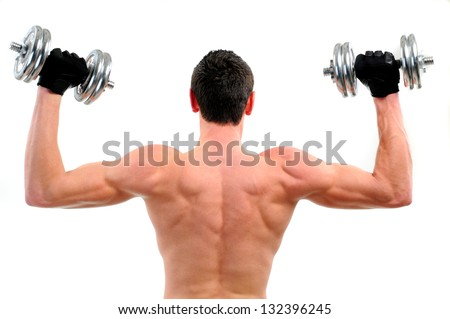 Bodybuilding shoulder exercise with dumbbells, step by step.