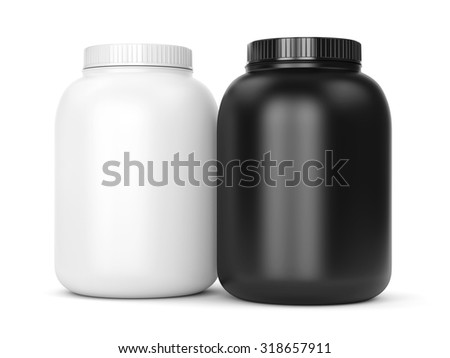 Bodybuilding supplements: cans of protein or gainer powder isolated on white background - stock photo