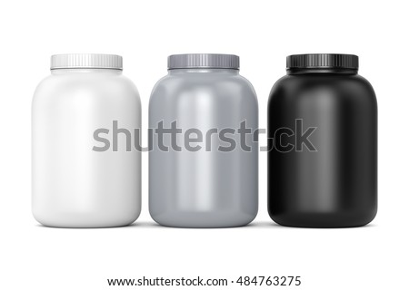 Bodybuilding supplements: three cans of protein or gainer powder isolated on white background. 3D illustration