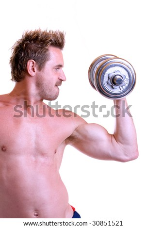 Bodybuilding with barbell - stock photo