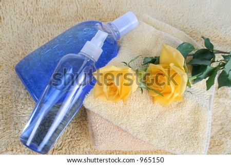 bodycare and roses - stock photo