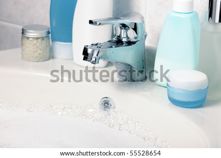 bodycare products in the bathroom - stock photo