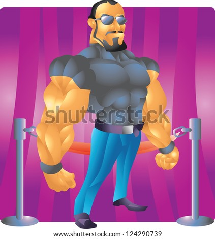 bodyguard bouncer with background - stock photo