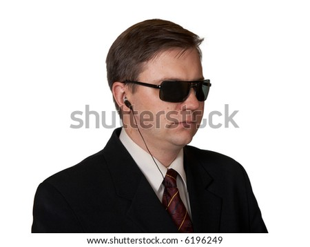 Bodyguard in sunglasses, isolated on white background - stock photo