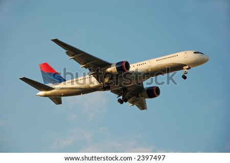 Boeing 757 airplane before landing