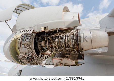 Boeing C17 jet engine with covers open - stock photo