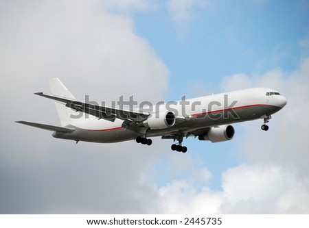 Boeing 767 cargo jet delivering packages worldwide - stock photo