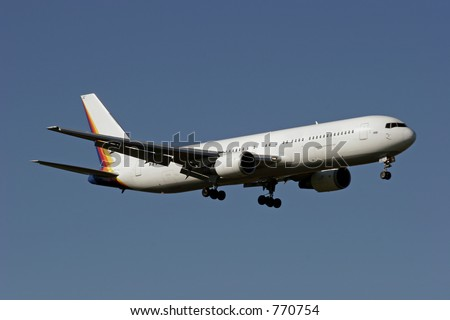 Boeing 767 landing at Auckland International Airport - stock photo