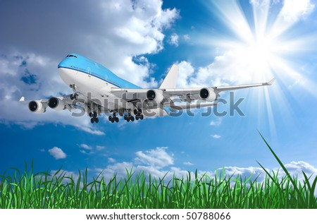 Boeing -747. Plane. Blue sky - stock photo