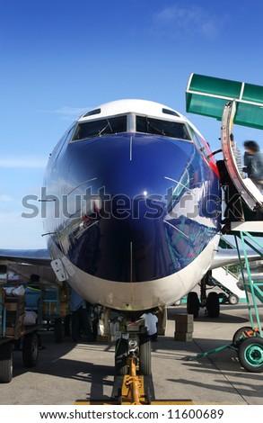 boeing preparing to take off - stock photo