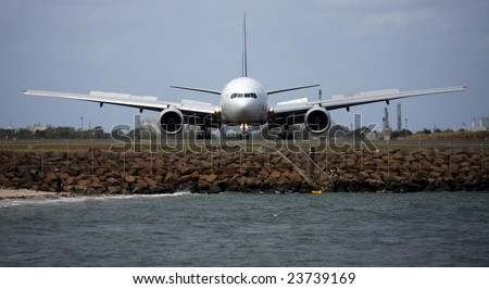 Boeing 767 ready for takeoff, front view - stock photo
