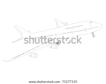 boeing sketch isolated on white background - stock photo