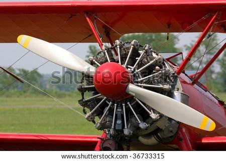 Boeing Stear-man engine detail - stock photo