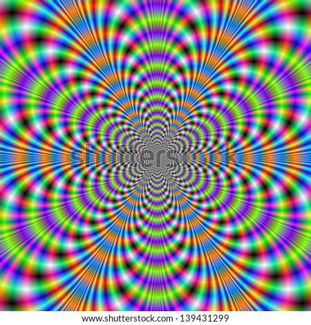 Boggle Eyed Psychedelic / Digital abstract fractal image with a psychedelic geometric pattern in green, orange, purple and blue.