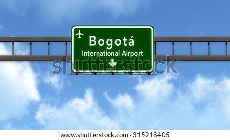 Bogota Colombia Airport Highway Road Sign 3D Illustration