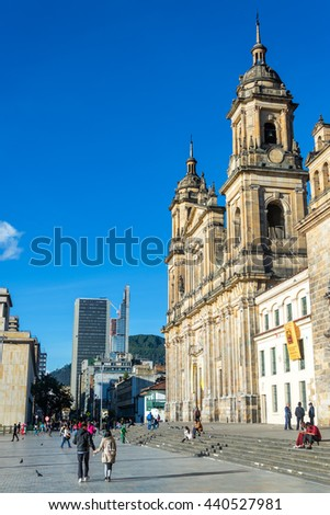 BOGOTA, COLOMBIA - APRIL 21: View of the cathedral in Bogota, Colombia with skyscrapers in the background on April 21, 2016 - stock photo