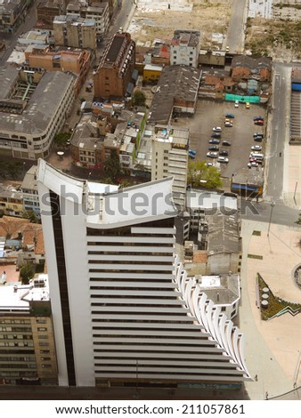 BOGOTA, COLOMBIA - AUGUST 3: View of modern buildings and ruins in the downtown of the city on August 3, 2014 in Bogota, Colombia.