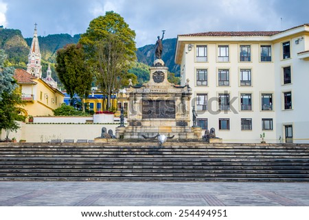 BOGOTA, COLOMBIA - FEBRUARY 9, 2015: House of Narino, official home and principal workplace of the President of Colombia - stock photo