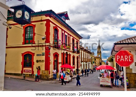 BOGOTA, COLOMBIA - FEBRUARY 9, 2015: La Candelaria, colonial neighborhood that is a cultural and historical landmark in Bogota, Colombia - stock photo