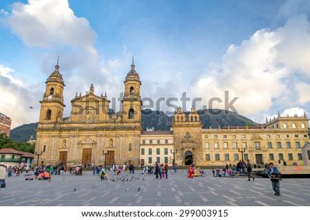 BOGOTA, COLOMBIA - FEBRUARY 9, 2015: Primary Cathedral of Bogota, historic and reliigous landmark, located in Bolivar Square - stock photo