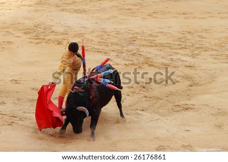 BOGOTA, COLOMBIA - JANUARY 18: An unidentified bullfighter in action in the Plaza de Toros in Bogota, Colombia on January 18, 2009. - stock photo