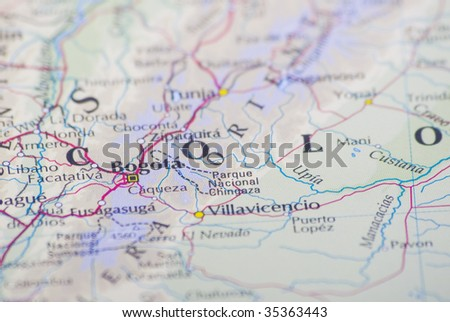 Bogota, Colombia on the World's map - stock photo