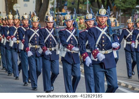 BOGOTA, COLOMBIA - SEPTEMBER 23, 2015: Changing of the guard at House of Narino, official presidential seat in colombian capital Bogota.