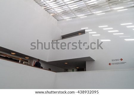 BOGOTA, COLOMBIA - SEPTEMBER 24, 2015: Interior of Gold Museum (Museo del Oro) in Bogota, capital of Colombia. - stock photo