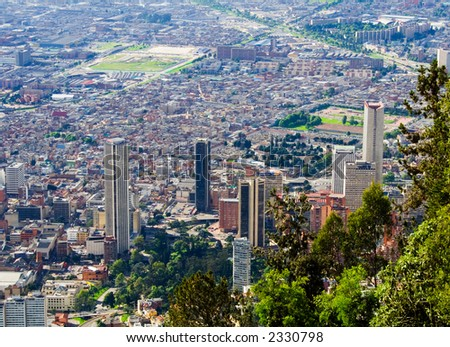 Bogota downtown. Colombia. Skyscrappers. Landscape panorama - stock photo