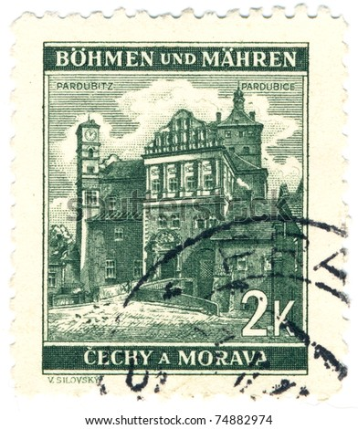 BOHEMIA - CIRCA 1940: A stamp printed during german occupation of Czechoslovakia, shows of Pardubice castle, series, circa 1940