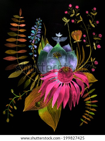 Bohemian floral watercolor illustration. Unusual artwork.