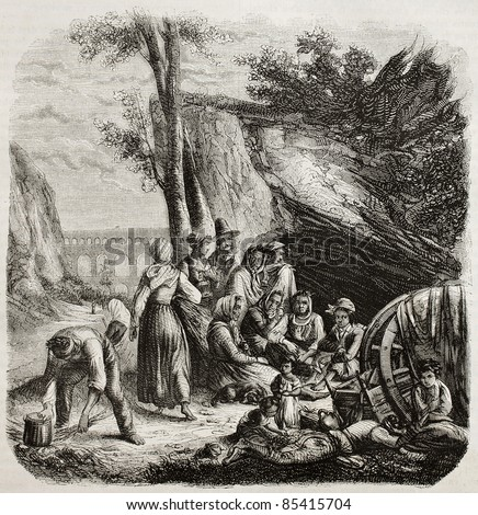 Bohemian people near Pont-du-Gard, southern France. Created by Colin, published on Magasin pittoresque, Paris, 1842