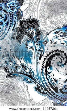 bohemian textured paisley motif with illuminating outlines and shading texture - stock photo