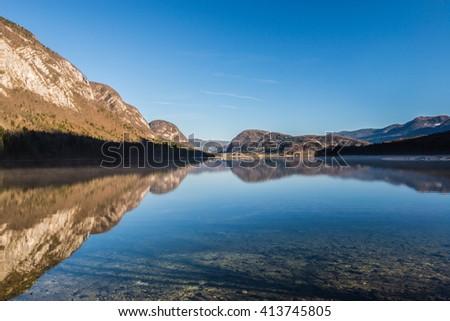 Bohinj Lake at sunset ,Triglav National Park,Slovenia. - stock photo