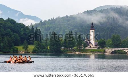 Bohinj Lake in summer, Triglav National Park, Julian Alps, Slovenia. 20 July, 2015 - stock photo