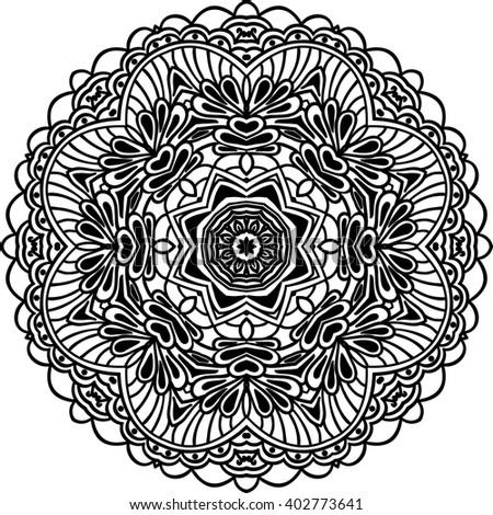 Boho decorative element for design. Monochrome mandala isolated on white background. Vector illustration?Rasterized version. - stock photo