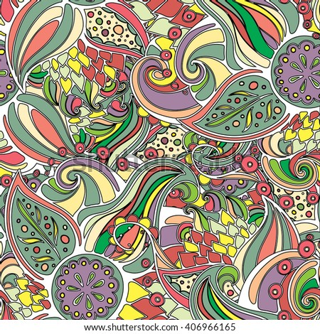 Boho doodle leaves & paisleys seamless pattern. Wavy pattern created for background, wallpaper, notebook wrapping, textile, web design.