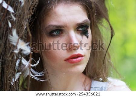 Boho fashion style Sindirella close up face - stock photo
