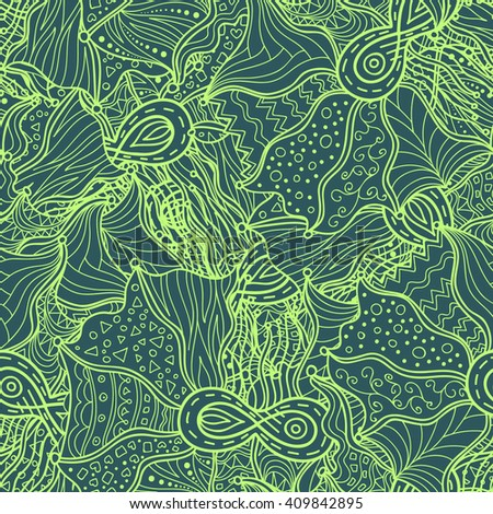 Boho hand drawn doodle pattern. Seamless pattern created for making wallpaper, background, textiles, wrapping.