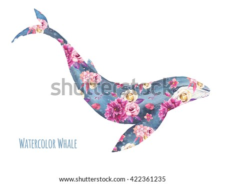 Boho style whale illustration. Single whale silhouette with floral texture isolated on white background.