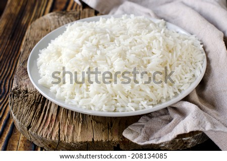 Boiled Basmati rice - stock photo