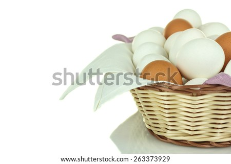 Boiled chicken eggs in a basket with napkins - stock photo