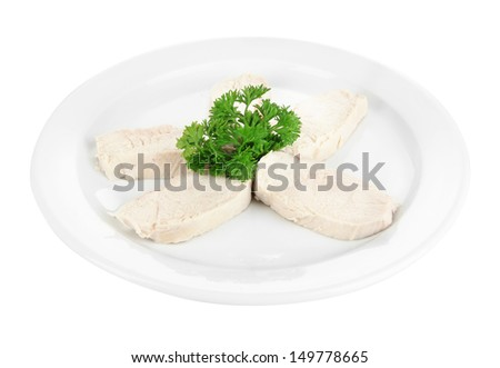 Boiled chicken meat, isolated on white