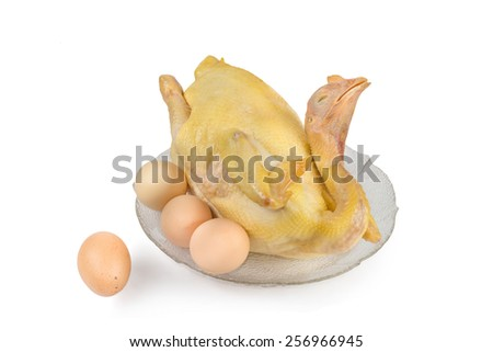 boiled chicken with egg, isolated on white background - stock photo