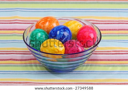 Boiled colorful easter eggs in a bowl