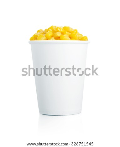 Boiled corn kernels in white paper cups isolated on white - stock photo
