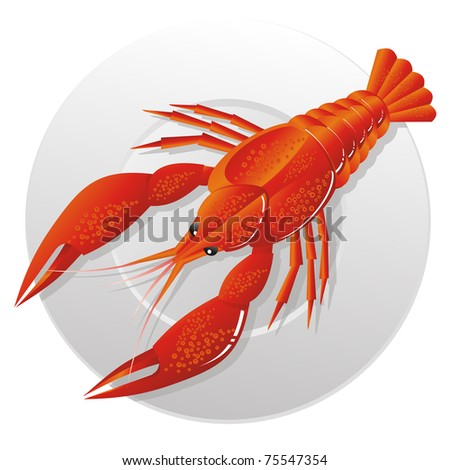 Boiled crawfish on snack to beer - stock photo